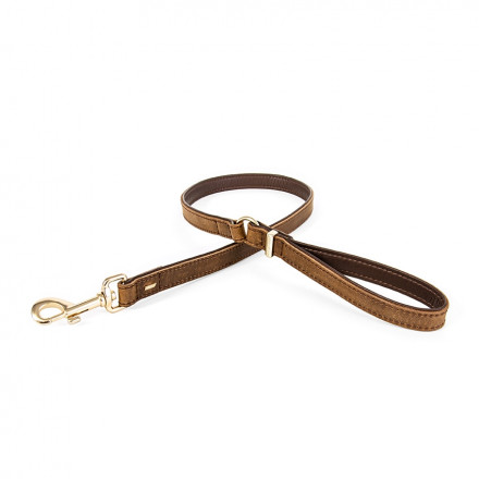 Oxford Leather dog lead - Brown